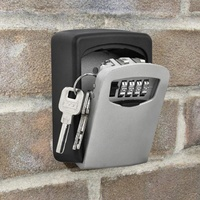 Outdoor Safe Key Box Storage Organizer With 4 Digit Wall Mounted Combination Password Keys Hook Plastic