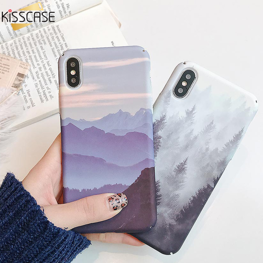 KISSCASE Landscape <font><b>Hard</b></font> PC Water Sticker <font><b>Case</b></font> For Huawei <font><b>Honor</b></font> 8X <font><b>9</b></font> 10 <font><b>Lite</b></font> P30 20 <font><b>Lite</b></font> P Smart 2019 Mate 20 10 Protective Cover image