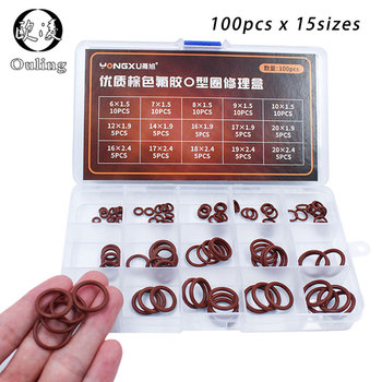 100pcs Brown FKM O Rings Rubber Washer Sealing O-rings Set Assortment 15Sizes O ring Seal Kit Flexible Gasket Box Oil Ring silicone rubbe ring green fkm o ring 30size o ring seal rubber sealing o ring washer gasket o ring set assortment kit box