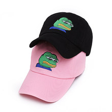 55770fc469f VORON men women Sad Frog Embroidery Adjustable Dad Hat Baseball Cap Pepe  Life Sucks Hat Black