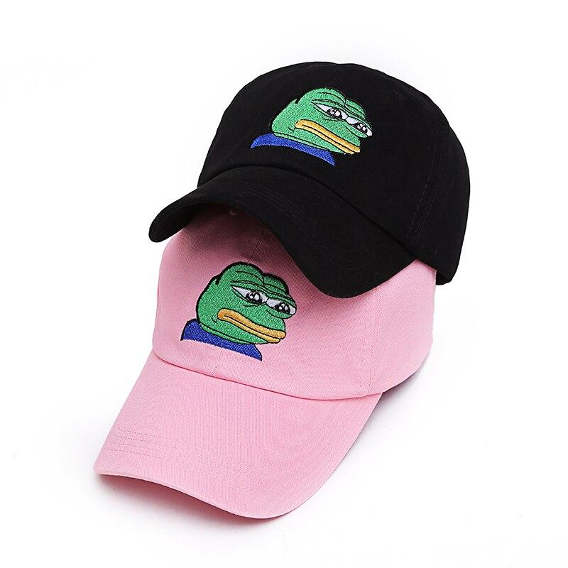 VORON men women Sad Frog Embroidery Adjustable Dad Hat Baseball Cap Pepe Life Sucks Hat Black Dad Cap Strap back Frog Meme