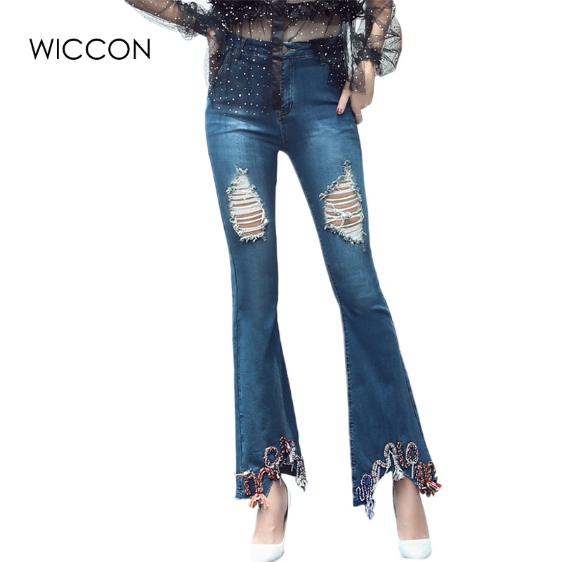 moruancle 2017 new womens ripped wide leg jeans pants distressed flare denim trousers with holes high waist boot cut size s xxl Elegant Skinny Denim Flare Pants Jeans Woman Ripped Holes On Knee Wide Leg Pants Jean Trousers Cool Fashion Bottoms WICCON