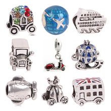 Fits Pandora Charm Bracelet for as Gift Mini Cute Style Enamel Pumpkin Cars Beads,New Big Hole Silver Color Beads