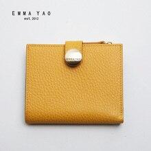 EMMA YAO genuine leather wallet female famous brand wallet case fashion purse
