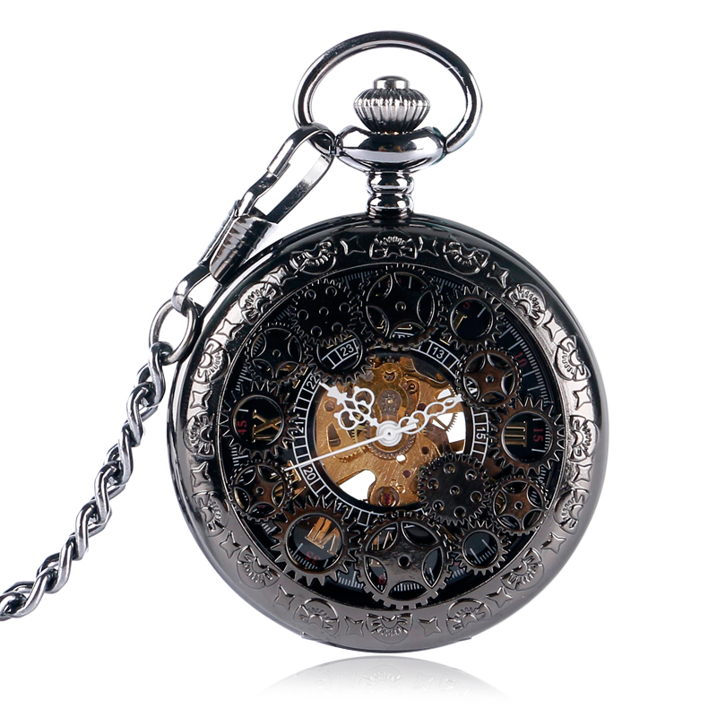 Half Hunter Hand Wind Steampunk Luxury Wind Up Wheel Mechanical Pendant Pocket Watch Women Men Gear Chain Black bayan kol saati antique pocket watch transparent steampunk double open hunter gear mechanical hand wind fob time hours with chain pendant gift