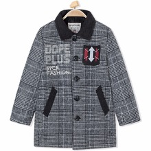 Winter Thermal Wool Blend Warm Outerwear Plus Velvet Jacket for Children Striped Trench Casual Snow Wear Boy Coat Kid Plaid Top