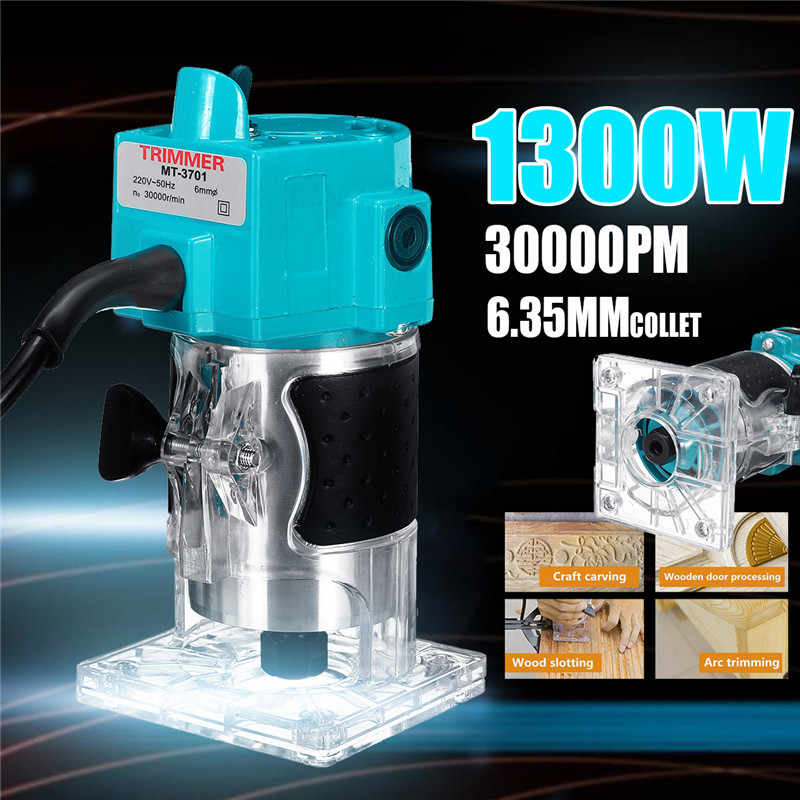 """110V/220V 1300W 1/4"""" 30000RPM Electric Hand Trimmer Wood Laminate Palms Router Joiners Power Tool Woodwork Carving Machine Trim"""