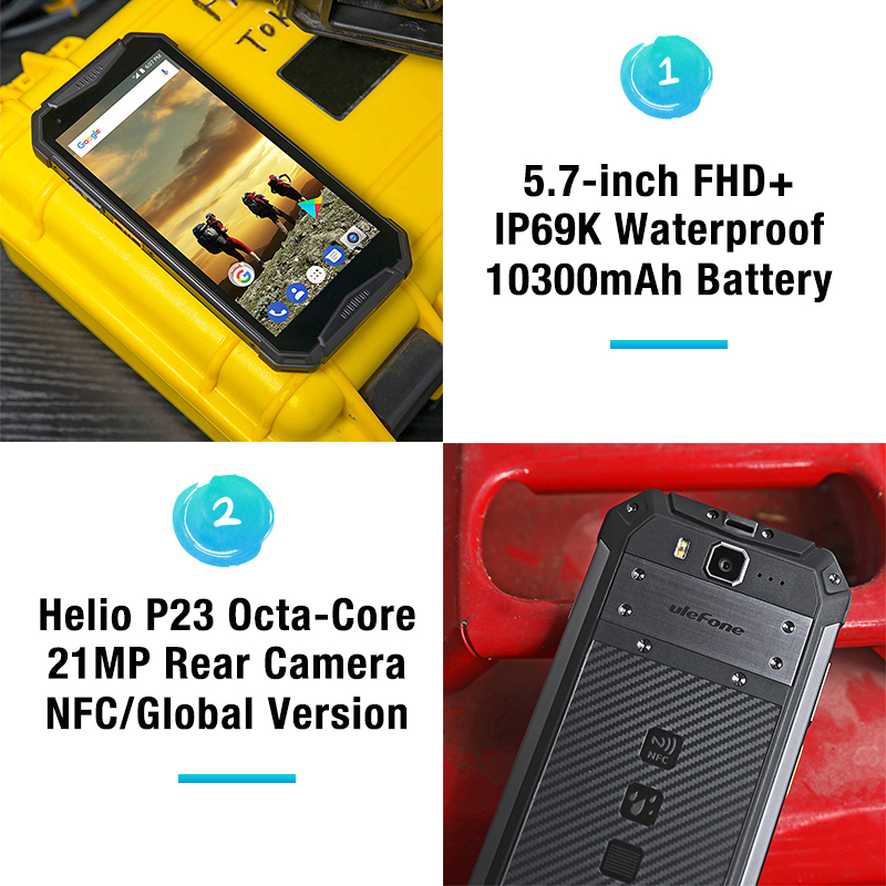 "Image 3 - Ulefone Armor 3 IP68 Waterproof Mobile Phone Android8.1 5.7"" FHD+ Octa Core 4GB+64GB NFC 21MP 10300mAh Global Version Smartphone-in Cellphones from Cellphones & Telecommunications"