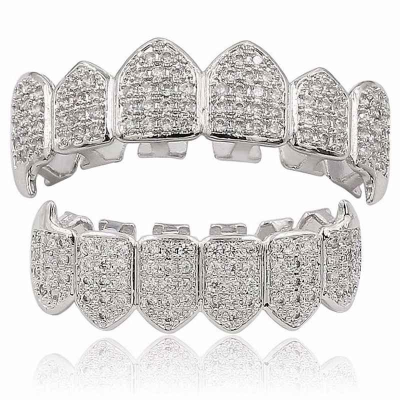 Посеребренные верхние и нижние Grillz зубы грили высокое качество, серебро