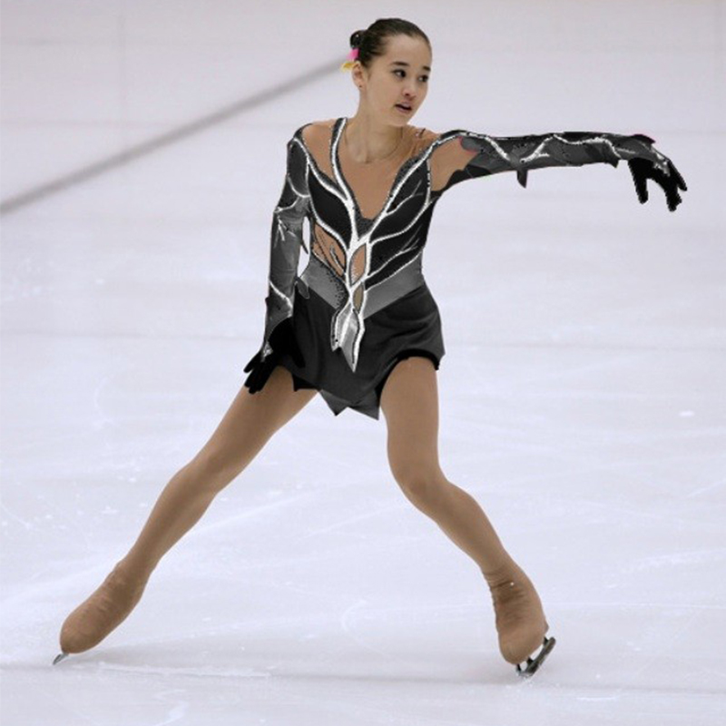 Индивидуальный костюм Катание на коньках платье фигурное катание платье художественная гимнастика спандекс для девочек юбка, сценический