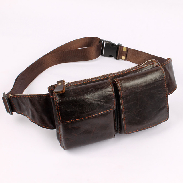 Chest pack fashion genuine leather bag cowhide waist pack male  small hasp cross-body bag card holder