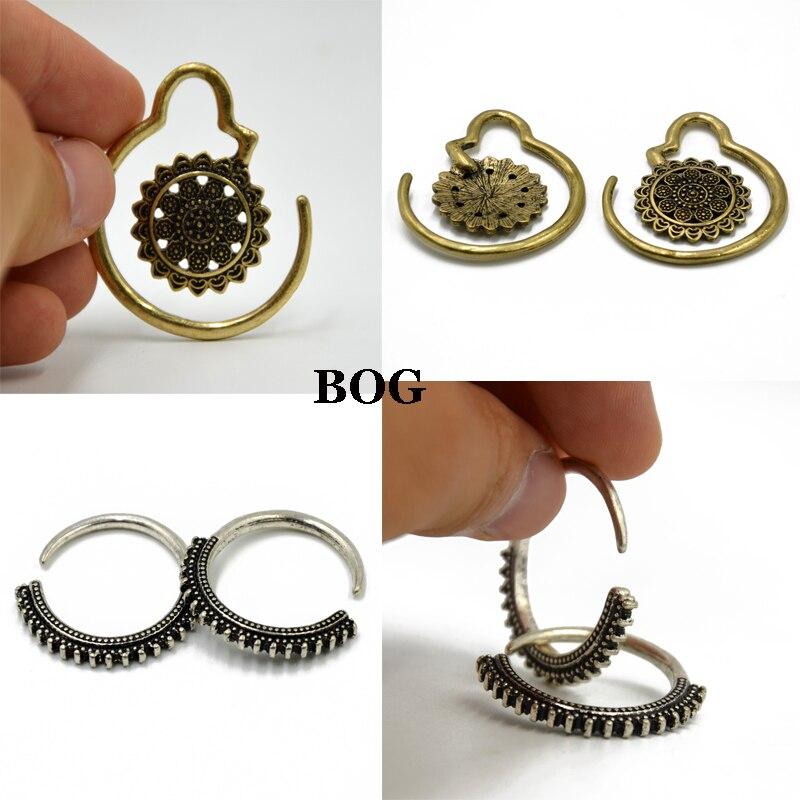 BOG-Pair Brass Vintage Garden Bloom Flower Bloom Dotted Hoops Earring Ear Hanger Ear Weights Piercing Jewelry