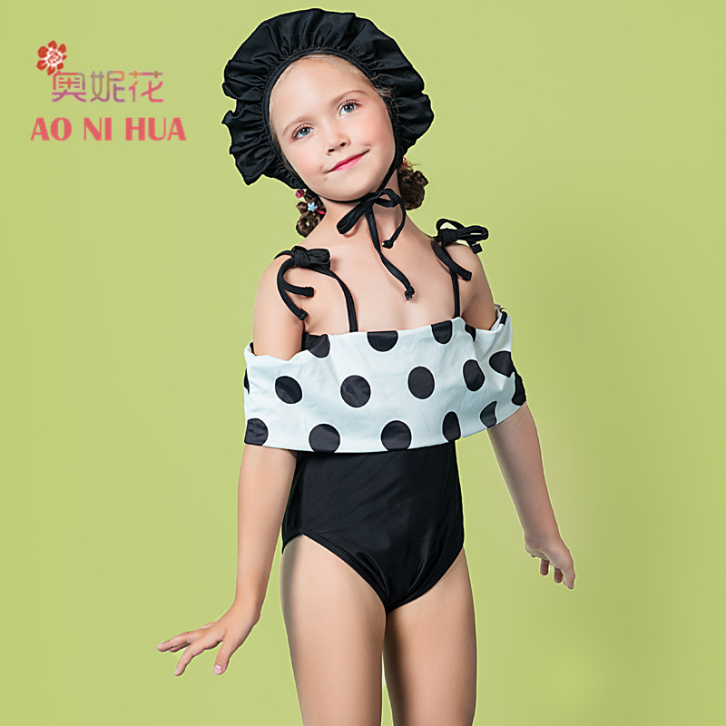 AONIHUA 2018 Trendy Polka Dot Ruffle summer Swimsuit for Girls kids 2-12 years old Children baby One piece swimwear bathing suit