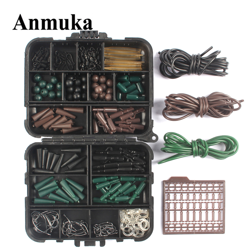 Anmuka Assorted <font><b>Carp</b></font> <font><b>Fishing</b></font> <font><b>Accessories</b></font> Tackle Boxes for Hair Rig Combo box Hooks Rubber Tubes Swivels Beads Sleeves Stoppers