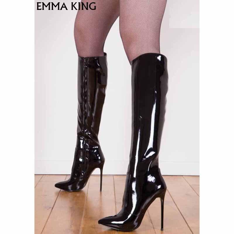 Bottes Sexy de luxe au genou femmes pointues en cuir verni Botas Mujer talon aiguille solide bottes longues à la mode talons dames