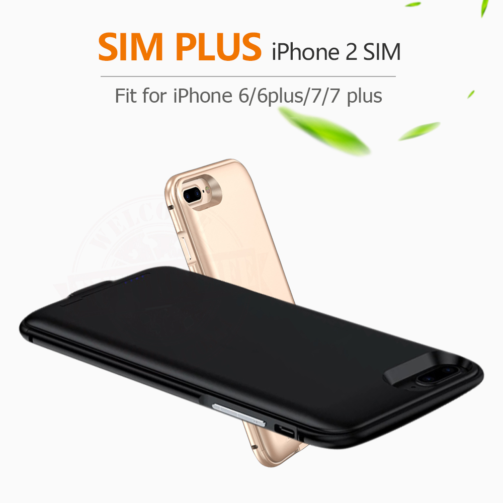 bilder für 2017 Doppelsim Doppeleinsatzbereitschaft Adaper metallrahmen Ultradünne Lange Einsatzbereitschaft für iPhone6 (s)/6 plus/7/7 plus & 1800/2500 mAh Energienbank