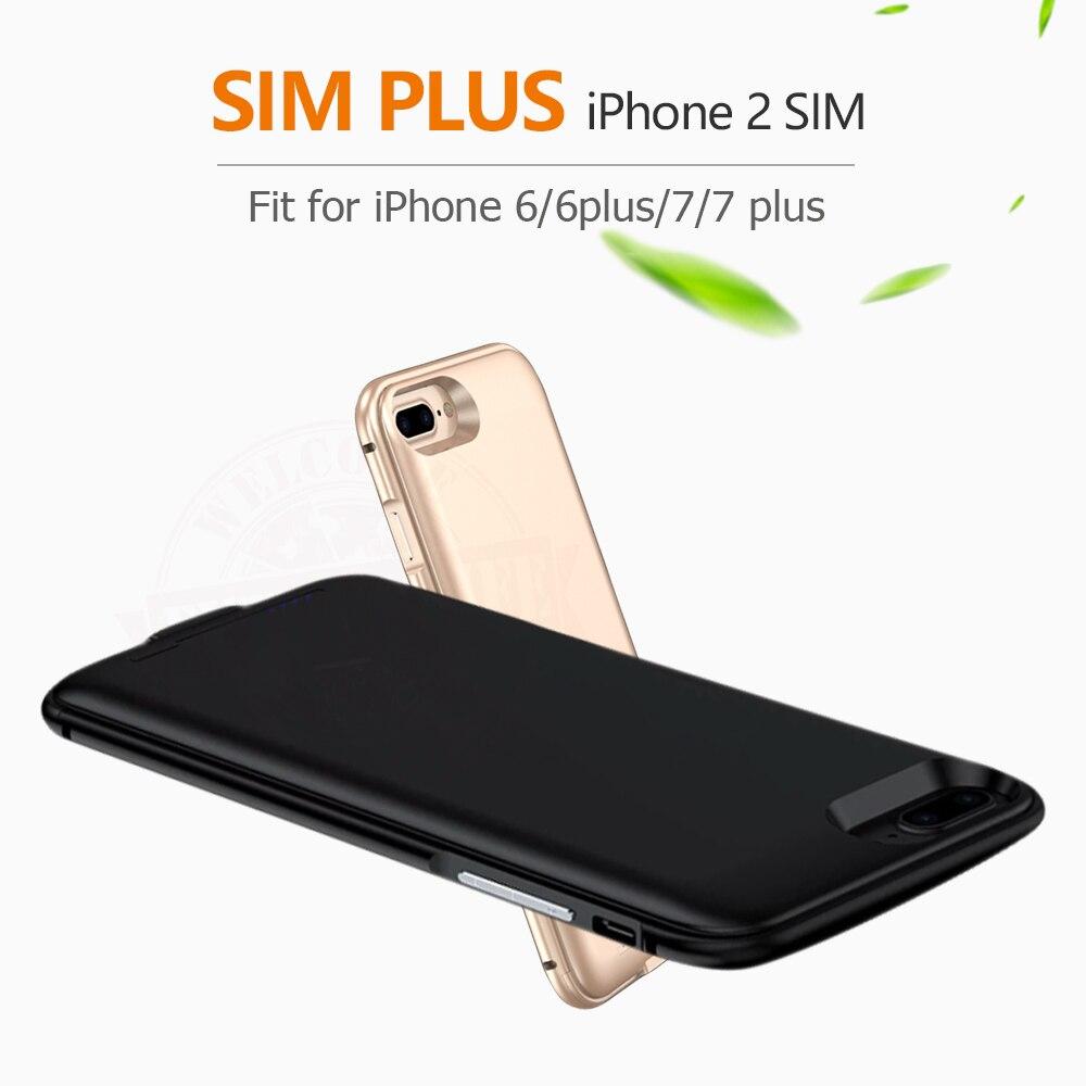 imágenes para 2017 Dual SIM Doble Modo de Espera Adaper marco del Metal Ultrafino de Larga Espera para iPhone6 (s)/6 plus/7/7 plus y 1800/2500 mAh Banco de Potencia