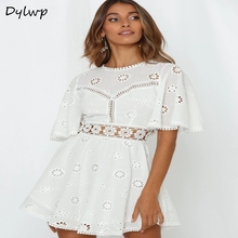 Sexy Lace Embroidered Flower Dress Women Round Neck Hollow Backless A-line Dresses Summer Ladies Casual Short Sleeve Mini Dress цены