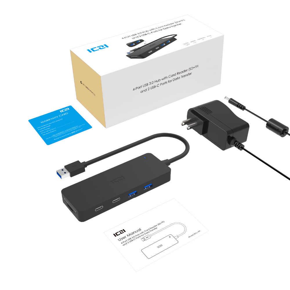 ICZI USB 3.0 Hub 4 * USB 3.0 الموانئ + 2 * نوع C منافذ + SD TF قارئ بطاقات عالية سرعة محور للكمبيوتر أجهزة الكمبيوتر المحمولة الهاتف المحمول اكسسوارات