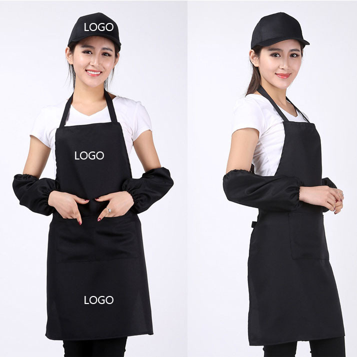 100 PC 핫 판매 주방 앞치마 패션 솔리드 컬러 브랜드 회사 쇼핑 두 웨이터 웨딩 드레스 앞치마 + 로고 인쇄