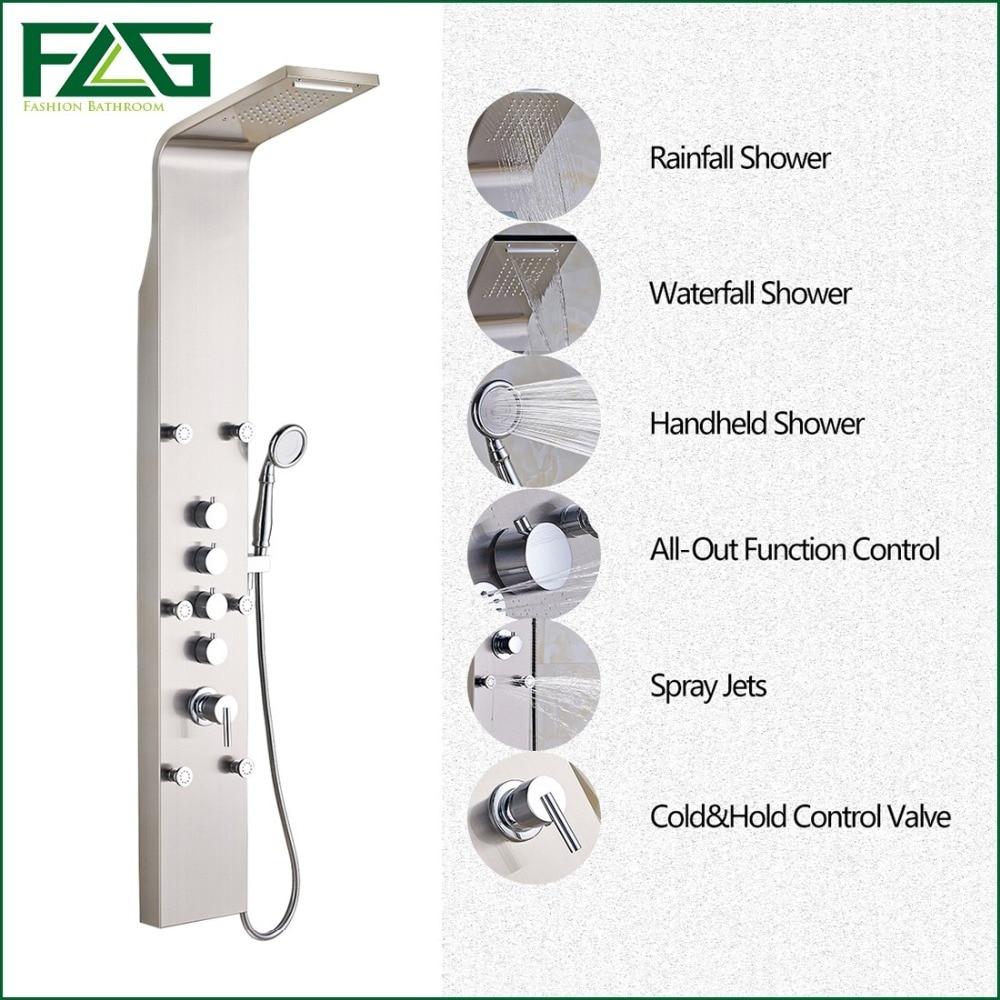 Bathroom showers direct - Factory Direct Sale Rain Waterfall Shower Panel 6pc Massage Jets Nickel Brushed With Hand Shower Bathroom Shower Set Faucet Tap