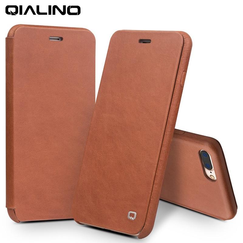 imágenes para QIALINO Caso para el iphone 7 plus de Lujo Del Tirón Del Cuero Genuino Folio Cubierta de Apertura en el Diseño Curvo con Broche Magnético Oculto cubierta