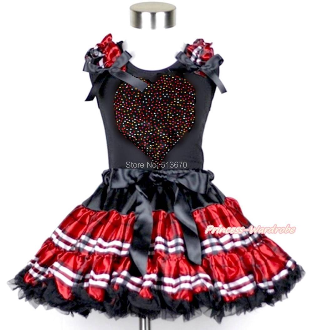 Valentine Rhinestone Heart Black Top Black Red Plaid Girl Pettiskirt Set 1-8Year MAPSA0187 red black 8 layered pettiskirt red sparkle number ruffle red bow tank top mamg575