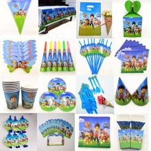 Puppy Patrol Flags Tablecloth Straws Cups Plates Candy box Popcorn Box Card Party Supplies Kid Birthday Party Decoration