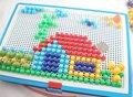 Cogumelos prego criativa placa de pérola de tijolos brinquedos educativos