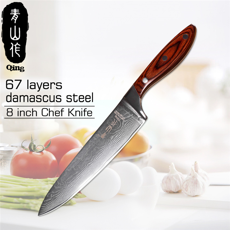 QING Single Damascus Knife Japanese Style VG10 Damascus Steel Kitchen Knife Color Wood Handle Kitchen Tools