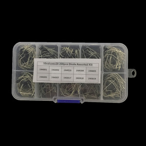 200Pcs/lot 10 Values Rectifier Diode Assorted Kit 1N4001 1N4002 1N4003 1N4004 1N4005 1N4006 1N4007 1N5817 1N5818 1N5819 + Box