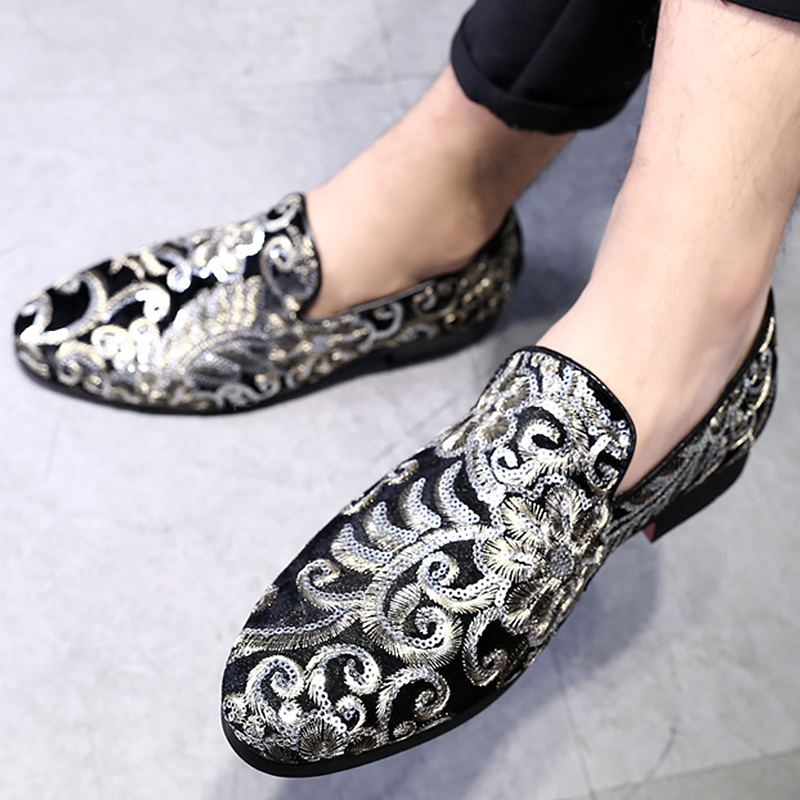 Male shoes loafers fashion embroidery floral slip-on footwear male social shoe leather moccasins for men shoes big size 5.5-15