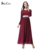 Mulheres turcas abaya roupa muçulmana Islam vestido de vestidos longos senhora cintura Elástica manga comprida Vestidos Dubai kaftan Abayas rosa