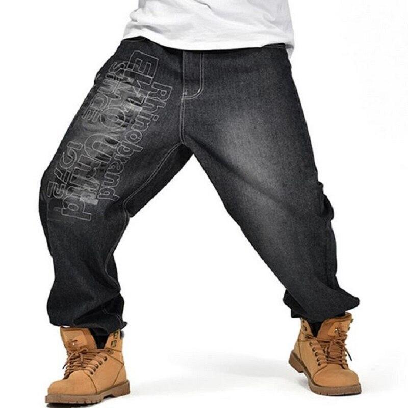 Men's Black Baggy Jeans Hip Hop Designer Skateboard Pants loose Style Plus Size 30-42 True HipHop Rap Jeans Boy Trousers