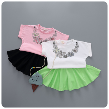 2016 Korean Children's Garment Wear New Product Girl Baby Printing Short Sleeve T-Shirt Half-body Short Fresh 2 Pieces Suit