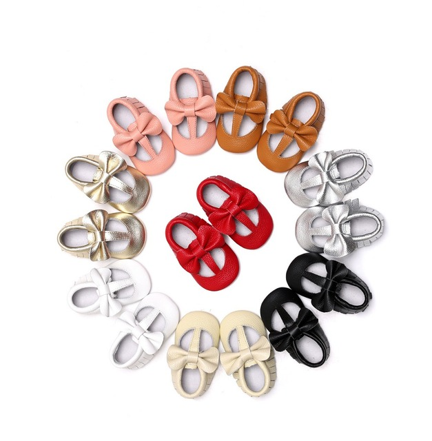 2017 Hot sell spring T-bar style Genuine Leather Baby Moccasins Shoes bow solid Baby Shoes Newborn first walker Infant Shoes