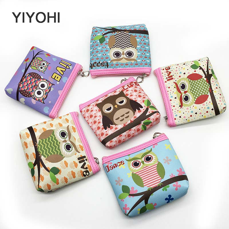 YIYOHI New Unisex PU Leather Cute Owl Zipper Coin Purse For Kids Small Women Coin Wallet Pouch Girls' Kawaii Animal Card Key Bag