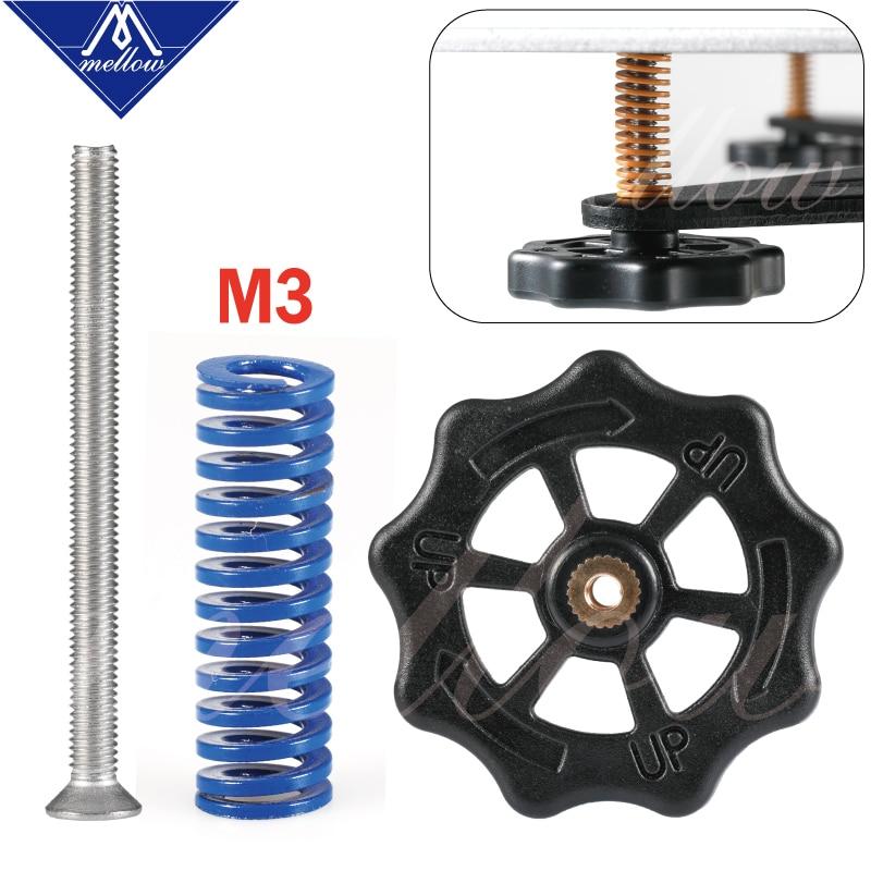 Mellow New 5/10Set/lot Hot Bed Spring Leveling Kit Adjustment Nut+Springs+M3*40 Screw Heatbed Kit For 3D Printer Ultimaker 2