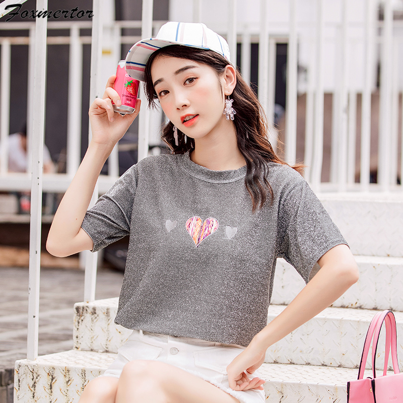2018 Fashion Lady Bright Silk t-shirt Women Summer T shirt Cute Female Brand Tees Top Slim Fit Girls Short Sleeve Casual t shirt 1