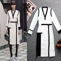 Spring Autumn Fashion Women 2016 Classic Black And White Patchwork Slim Dress Long Sleeve Plus Size