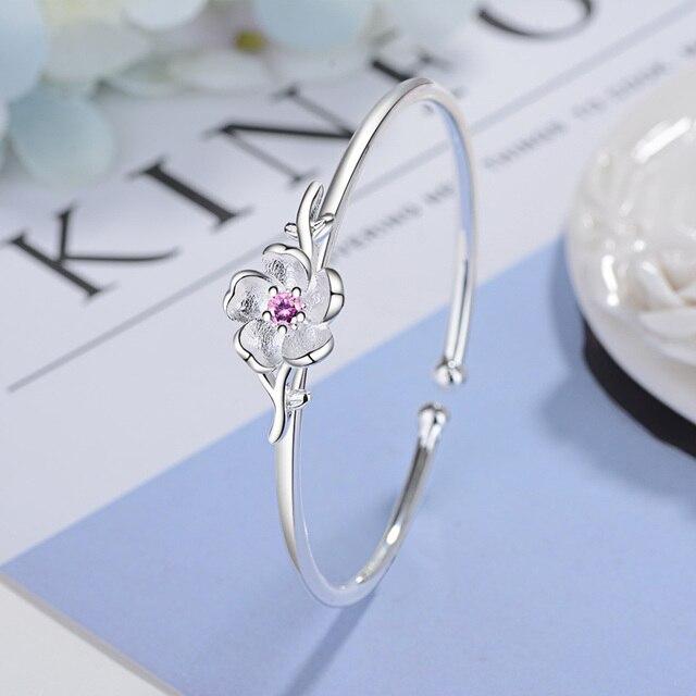 Женский браслет с цветком todorova корейский розовым и фиолетовым