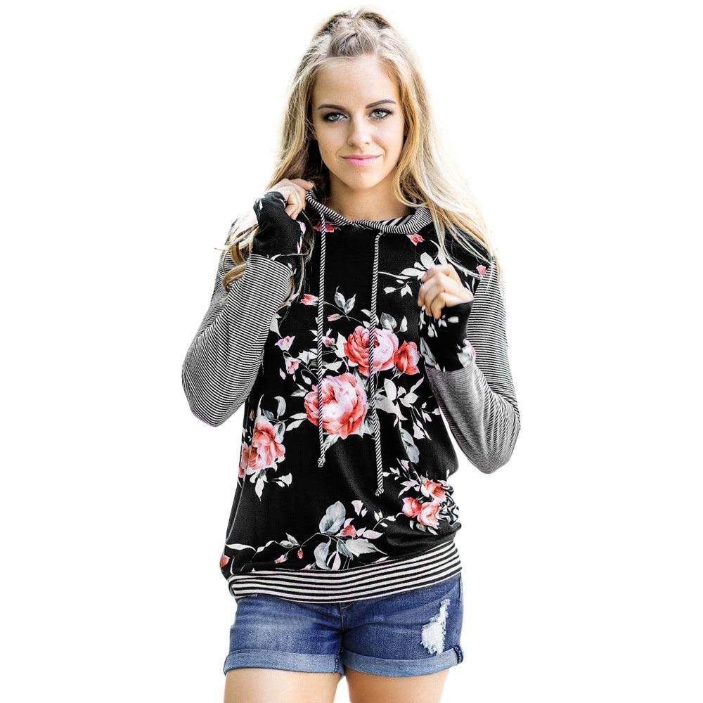 Women Hoodies Sweatshirts Fashion Striped Flower Print Long Sleeve Hoodies Sweatshirts Oversized Hoodie Sudadera Mujer #38
