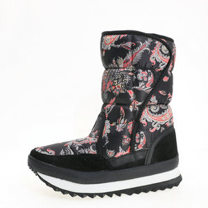 Image 4 - Caldo scarpa femminile 2019 di nuovo stile di disegno del fiore di inverno doposci sacchetto di nylon di stampa superiore della mucca pelle scamosciata vincolante più il formato libero la nave