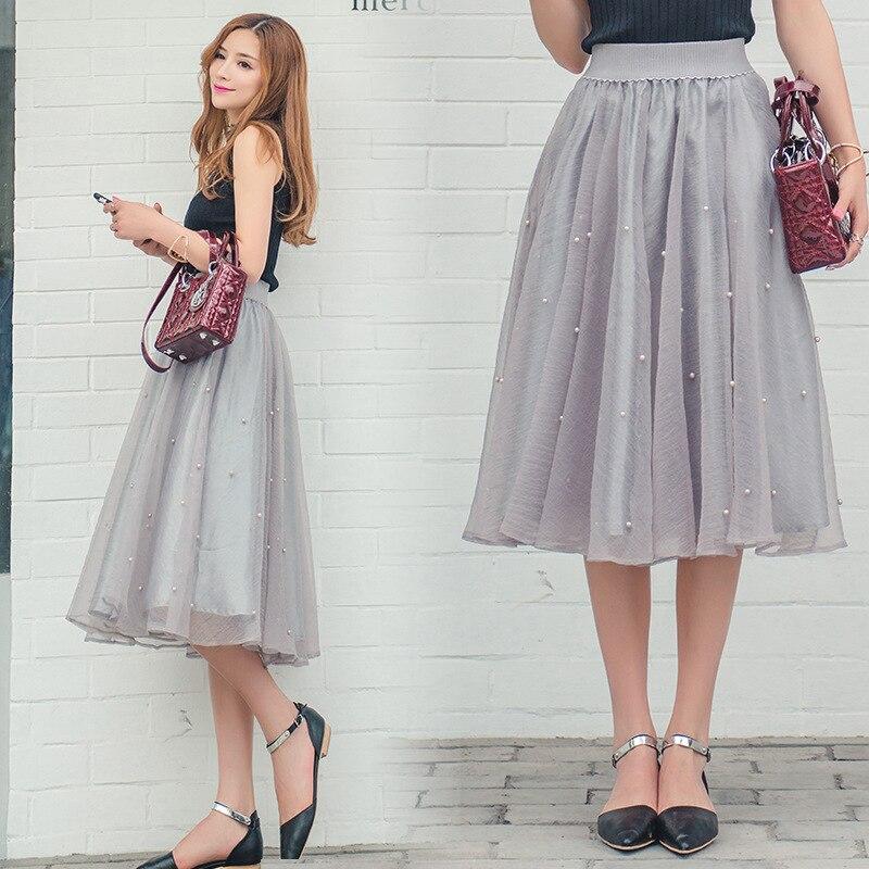 FOLOBE Elegant 70cm Maxi Long Tulle Skirt Elegant Pleated Tutu Skirts Womens Lolita Petticoat faldas mujer Saias Jupe s26