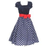Algodão de Manga Curta Polka Dot Vestidos de Impressão Bonito Das Mulheres do vintage Rockabilly 50 s 60 s Com Faixas Vermelhas Na Altura Do Joelho-Vestidos de comprimento