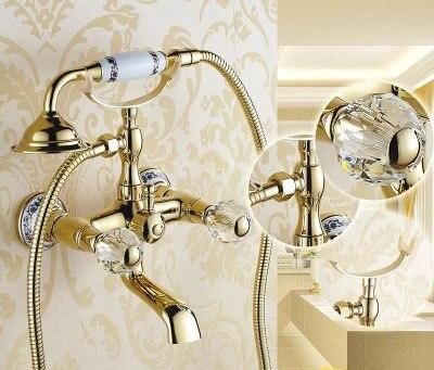 Роскошная обувь с украшением в виде кристаллов Маховики золото Ванная комната Ванна смеситель для душа Установить Переключатель спрей сме