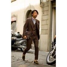 2289f9511372f Son Pantolon Ceket Tasarımları Koyu Kahverengi Erkek Suit 3 Parça (Ceket +  Pantolon + Yelek