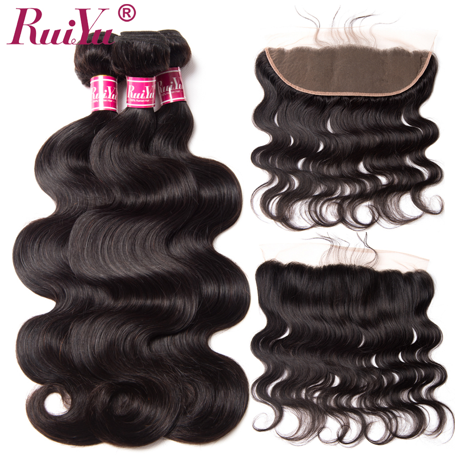 RUIYU Peruvian Body Wave Human Hair Bundles With Lace Frontal Closure 3 Bundles Non Remy Hair With Closure Ear To Ear 13*4
