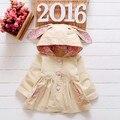 2016 Клиренс Высокое качество Мода Зима Осень детская одежда детей пальто Младенца Цветок девочка верхняя одежда для Детей куртка