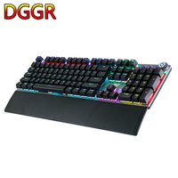 AULA Gaming Mechanical Keyboard 104 Keys Wired Backlit Metal Anti ghosting for Computer PC With English Russian Spanish Arabic